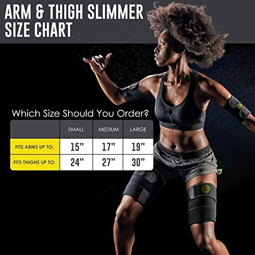 Arn Trimmers & Thigh Trimmer for Women & Men (4-Pack) - Increases Heat & Sweat Production - Sweat Band, Shaper & Slimmer - Arm & Thigh Toner Bands for Workout - Sweat Belt & Body Wraps for Weight Loss 2