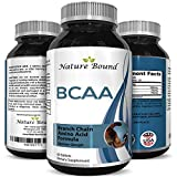 BCAA Pills-Pure Concentrated Essential Amino Acids-Muscle Recovery + Repair-Build Muscle-Best Lean Gains Supplements -Women + Men - 3000 mg Dosage by Nature Bound