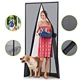 Homitt [Upgraded Version] Magnetic Screen Door with Durable Fiberglass Mesh Curtain and Full Frame Hook & Loop Fits Door Size up to 36'x82' Max- Black