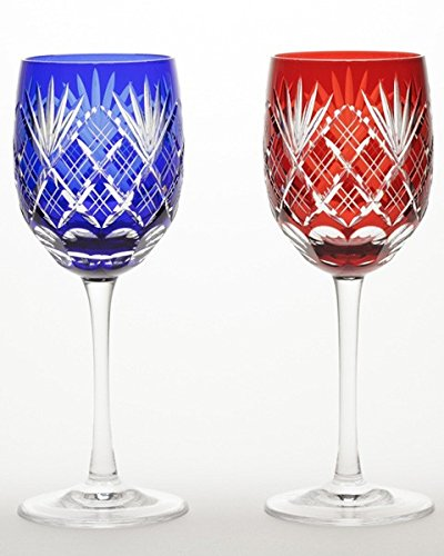 Japanese Paired Wine Glass of Edo-Kiriko (Cut Glass) Ken-yarai Pattern