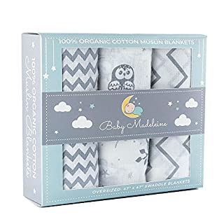Safely swaddle your loved ones in Baby Madeleine's finest 100% Organic Cotton Swaddle Blankets. Their stylish and trendy designs are a beautiful addition to any nursery. Your baby will love the feeling of our incredibly soft and breathable organic co...