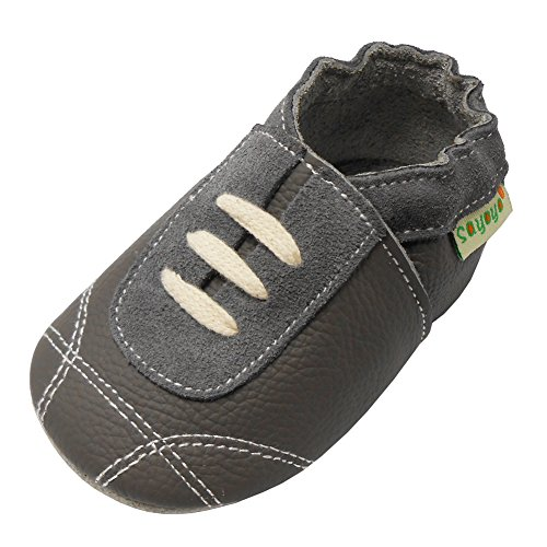 Sayoyo Baby Sneakers Leather Baby Shoes Crib Shoes Toddler Soft Sole Sneakers (12-18 Months, Grey)