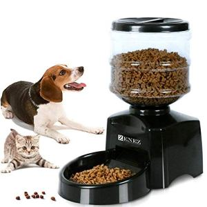 Zenez Automatic Pet Feeder Dispenser 5.5L Medium Capacity with Voice Message Recording and Large LCD Screen for Dogs Cats