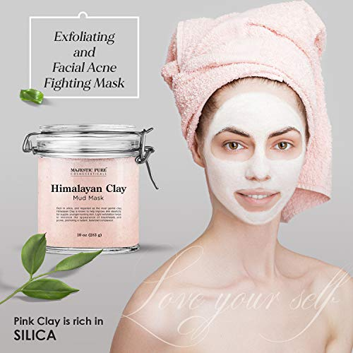 Himalayan Clay Mud Mask for Face and Body by Majestic Pure - Exfoliating and Facial Acne Fighting Mask - Reduces Appearance of Pores, 10 oz 5