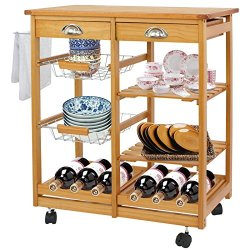 F2C Wooden Rolling Kitchen Island Trolley Cart Storage Cart Rack Shelf Organizer W/Drawers (Wooden Kitchen Island)