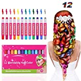 Kids Hair Chalk Pens- Tiaoyeer 12 Colors Temporary Hair Chalk Salon, Non-Toxic Washable Hair Dye Colors for Halloween Christmas Birthday Party, Cosplay, Concert, Safe for Kids & Adults
