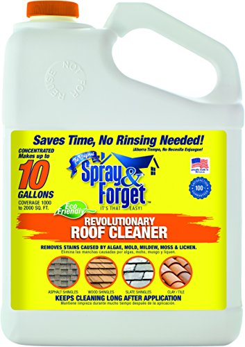 Spray & Forget Revolutionary Roof Cleaner Concentrate, 1 Gallon Bottle, 1 Count, Outdoor Cleaner, Mold Remover, Mildew Remover
