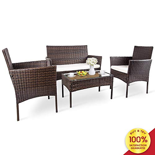 Romatlink, 4 Pieces Outdoor Rattan Patio Furniture Set, Modern Wicker Conversation Sofa Chairs with Cushioned Loveseat Armchairs & Glass Top Coffee Table Perfect for Garden Lawn Pool Backyard