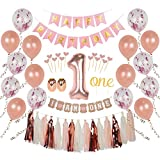 Ellia First Birthday Girl Decorations, 1st Smash Cake Fun Party Set, Rose Gold Pink Decor - 'One' Topper, Confetti Balloons, Bday Bunting, 'I am One' Banner, Tassels, Ribbon, Heart Sticks