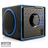 GOgroove Portable Speaker with USB Music Player - SonaVERSE BX Cube Speaker with USB Flash Drive MP3 Input, 3.5mm AUX Port, Playback Controls, Rechargeable Removable Battery (Wired, Blue)