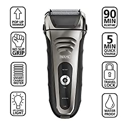 Wahl Smart Shave Rechargeable lithium ion wet / dry water proof foil shaver for men. Smartshave technology for shaving, trimming, and wet or dry shave with precision ground trimmer blade #7061-900  Image 1