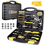 TECCPO 102-Piece Household Hand Tool Set with Wrenches, Hammer, Precision Screwdriver Set, Pliers and Toolbox Storage Case for Home Repair and DIY -THTC01H