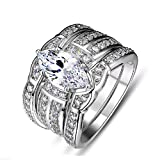 Sunbu Stainless Steel Women's Ring Sets White Clear Cubic Zirconia Marquise Wedding Band Size 7