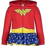 Warner Bros. Wonder Woman Toddler Girls' Full-Zip Lightweight Costume Hoodie Ruffles (3T) Red
