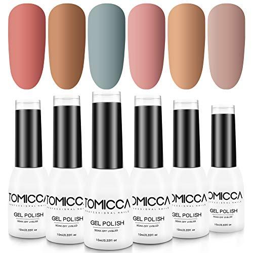 TOMICCA Gel Nail Polish Set, Nude Pink Series 6 Color 10ML A+ Soak Off UV/LED Gel Polish Kit with Design of The Transparent Bottle Top