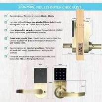 COLOSUS-NDL319-Keyless-Electronic-Trusted-Digital-Smart-Door-Lock-for-Home-Office-Security-Touchscreen--50-User-Codes-4-Key-Fobs-1-Remote-2-Keys-Gold-