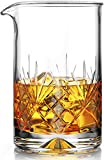 Crystal Cocktail Mixing Glass - Thick Weighted Bottom - 18oz - 550ml - Premium Seamless Design - Professional Quality - Great Gift Idea