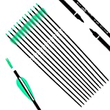 KESHES Archery Carbon Hunting Arrows for Compound & Recurve Bows - 30 inch Youth Kids and Adult Target Practice Bow Arrow - Removable Nock & Tips Points (12 Pack)