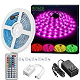 MINGER LED Strip Light Waterproof 16.4ft RGB SMD 5050 LED Rope Lighting Color Changing Full Kit with 44-keys IR Remote Controller & Power Supply Led Strip Lights for Home Kitchen Bed Room Decoration