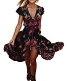 R.Vivimos Women's Summer Vintage Floral Print Deep V Neck High Low Long Dresses 2XL Black