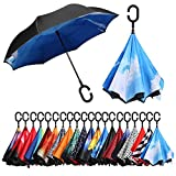 BAGAIL Double Layer Inverted Umbrellas Reverse Folding Umbrella Windproof UV Protection Big Straight Umbrella for Car Rain Outdoor with C-Shaped Handle(Cloud)