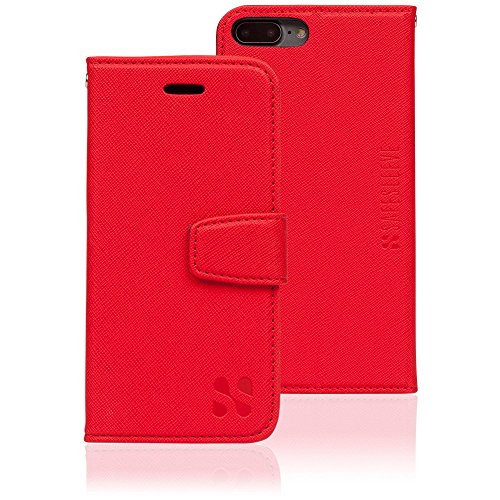 Anti Radiation RFID iPhone Case: iPhone 7 Plus and iPhone 8 Plus ELF & RF Blocking Identity Theft Protection Wallet (Red)