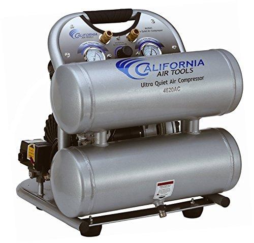 California Air Tools CAT-4620AC Ultra Quiet & Oil-Free 2.0 hp 4.0 gallon Aluminum Twin Tank Electric Portable Air Compressor, Silver