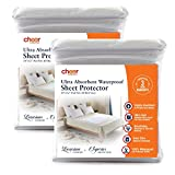 Cheer Collection Set of 2 Highly Absorbent 34' x 52' 100% Waterproof Sheet Protector and Incontinence Pad for Adults, Children and Pets