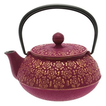 Iwachu Japanese Iron Tetsubin Teapot, Cherry Blossoms, Gold and Purple