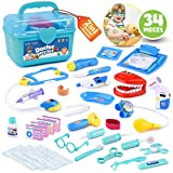 BRITENWAY Educational Doctor Medical Pretend Play Toy Set in Storage Box 34 Pcs - Battery Operated Tools with Lights & Sounds - Promote Learning, Hand to Eye Coordination, Fine Motor Skills