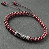 Men and Women Adjustable Braided Drawstring Bracelet Handmade with 5.5mm Garnet and Genuine 925 Sterling Silver Dragon Charm with Gift Box