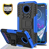 YmhxcY Moto Z3 Case, Moto Z3 Play Case with HD Screen Protector, Military Armor Drop Tested [Heavy Duty] Hybrid Case with Kickstand for Motorola Moto Z3 Play 2018-LT Blue