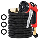 MATCC Garden Hose 50 Feet All New Expandable Hose with All Brass Connectors, 8 Pattern Sprayer and High Pressure, Expanding Garden Hose