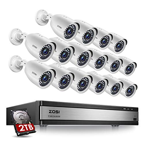 ZOSI-H265-1080p-16-Channel-Security-Camera-System-16-Channel-DVR-Recorder-with-Hard-Drive-2TB-and-16-x-1080p-Weatherproof-CCTV-Bullet-Camera-Outdoor-Indoor-with-80ft-Night-Vision-Motion-Alerts