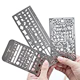 Yansanido Pack of 3 Stainless Steel Drawing Ruler Painting Stencils Scale Template Sets Graphics Stencils Number Template Ruler Stencils for Very Fine Pen Tip (Pack of 3)