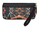 Anne Klein Slim Zip Around Wallet Black Multi One Size