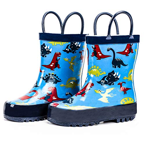 ADAMUMU Rain Boots Toddler Childrens Waterproof Rubber Shoes Lightweight Kids Rain Boots with Easy-On Handles for Boys & Girls,Little Kids Blue Cartoon Dinosaur