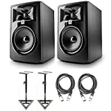 JBL 305P MkII 5' Studio Monitoring Speakers (Pair) w/AxcessAbles Studio Monitor Stands and Studio Cables