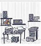 Ambesonne Modern Shower Curtain, Recording Studio with Music Devices Turntable Records Speakers Digital Illustration, Fabric Bathroom Decor Set with Hooks, 70 inches, Cadet Blue