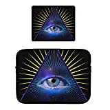 Beach Surfers All Seeing Eye Pyramid Symbol Providence Laptop Sleeve Bag Case with Matching Mouse Pad Mousepad Combo for Notebook/Netbook/Chromebook 15 Inch