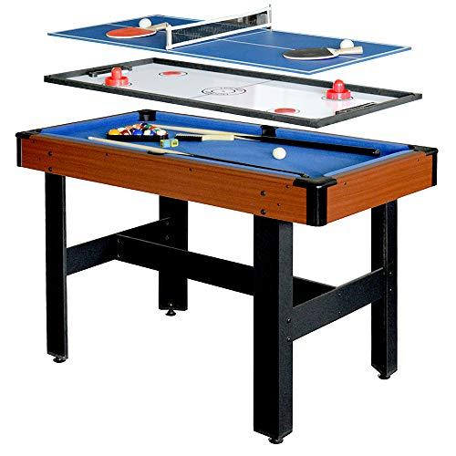 Hathaway BG1131M Triad 3-in-1 48-in Multi Game Table with Pool, Glide Hockey, and Table Tennis for...