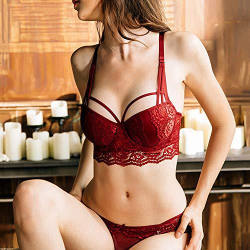 Underwear Set Push-Up Bra Panty Sets 3/4 Cup BrGreen Lace Lingerie Deep V Brassiere Black 75C deal 50% off 51gsPyovdML