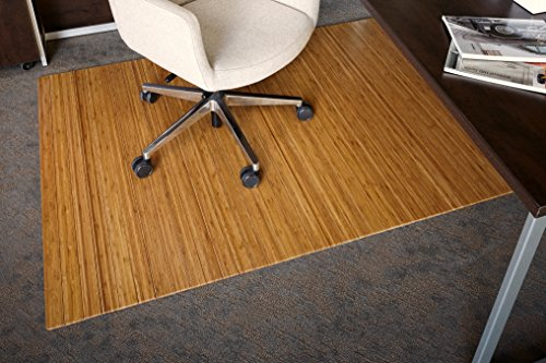 Anji Mountain Bamboo Roll-Up Chair Mat without Lip, Natural, 48 x 72', 5mm Thick