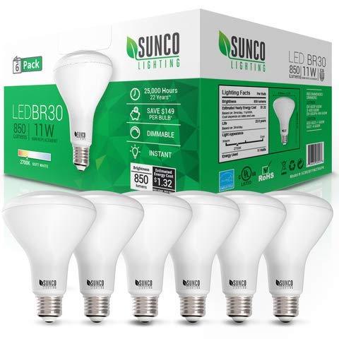 Sunco Lighting 6 Pack BR30 LED Bulb 11W=65W, 2700K Soft White, 850 LM, E26 Base, Dimmable, Indoor/Outdoor Flood Light - UL & Energy Star
