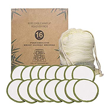 Amazon Com Reusable Makeup Remover Pads 16 Pack Reusable Cotton Rounds Bamboo Cotton Pads For Makeup Removal Washable Laundry Bag Foundation Cleaning Pad Suitable For All Types Of Skin Beauty
