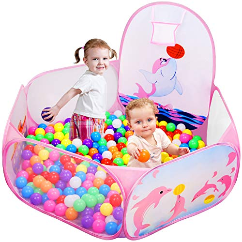 Likorlove Kid Ball Pit with Basketball Hoop 4ft/120cm, 1-6 Years Child Toddler Ball Ocean Pool Tent with Zippered Storage Bag for Boys Girls (No Smell) Healthy Pop Up Dolphin Play Tent - Pink