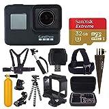 GoPro HERO7 Black Digital Action Camera with 4K HD Video 12MP Photos, SanDisk 32GB Micro SD Card, Hard Case - Gopro Hero 7 Accessory Bundle