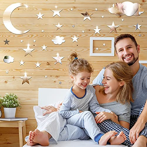 240 Pieces Acrylic Star Mirror Wall Stickers Removable Moon Clouds 3D Acrylic Mirror Wall Decals Silver Mirror Sticker Decors for Kids Boy Girls Baby Room Good Night House Nursery Home Bedroom