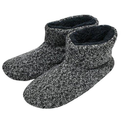 Knit Rock Wool Warm Men Indoor Pull on Cozy Memory Foam Slipper Boots Soft Rubber Sole Grey