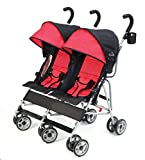 Kolcraft Cloud Double Umbrella Stroller - Lightweight and Compact, Easy Fold, Reclining Seats with Padded 3-Point Safety Harness and Roll-Up Seat Backs, Parent Cup Holder, Expandable Canopies, Red